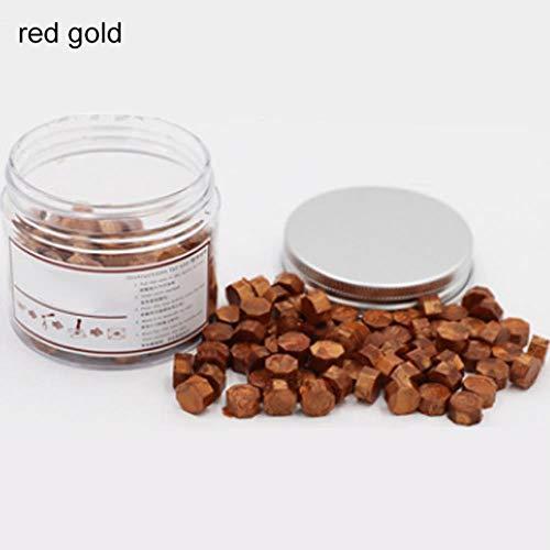 LEIXNDPLBO 3 stks met doos houten handvat koperen lepel metalenpartij zegen woorden Retro lakzegel stempel Wax korrels, rood goud