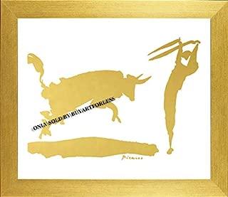 Buyartforless IF KS7899X 11x14 1.25 Golden Frame Professionally Framed Pablo Picasso The Bullfight III in Chic Gold 11X14 Imitation Metallic Art Print Poster in Golden Frame