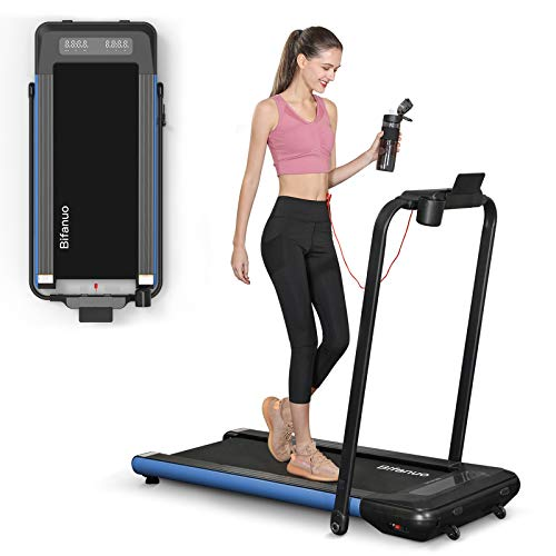 BiFanuo 2 in 1 Folding Treadmill, Smart Walking Running Machine with Bluetooth Audio Speakers, Installation-Free,Under Desk Treadmill for Home/Office Gym Cardio Fitness(Blue)