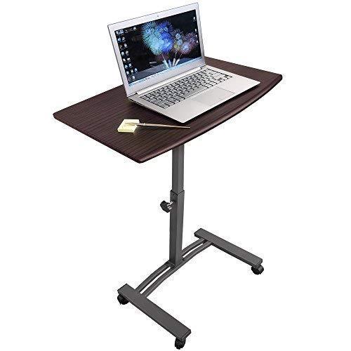 Tatkraft Salute | 13353 | Laptopständer, Beistelltisch Bett | MF Stahl, Holz | 4 Räder, Höhenverstellbar | 60x40CM Platte | Robust Und Stilvoll