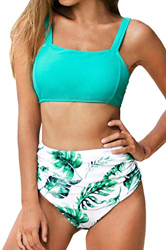 CUPSHE Women's High Waisted Leafy Print Wide Straps Bikini Swimsuit Sets, M Teal