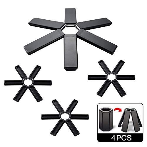 Dulau 4 Stück rutschfeste Wärmedämmuntersetzer, Topf Untersetzer Topfschutz Untersetzer Erweiterbare Faltbare, für Küchenarbeitsplatten und Bar-Untersetzer