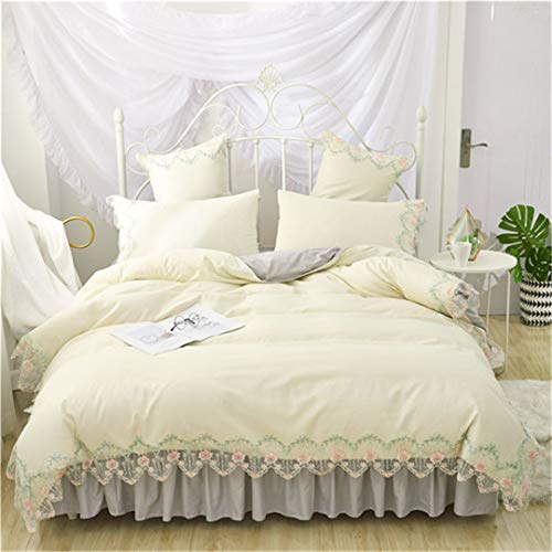 Wedding Red Lace Bedding Sets Queen King Duvet Cover Girls Bed Skirt Quilt Cover Sets Style14 Flat Sheet 150x200cm Bed 4pcs