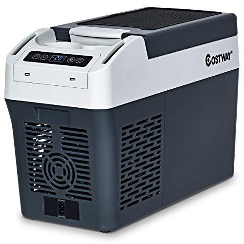 COSTWAY Mini Frigo Freezer Frigorifero Portatile AC/DC, -20℃~+10℃, con Coperchio e Lampadina, per Viaggio Auto e Casa, 12 Litri