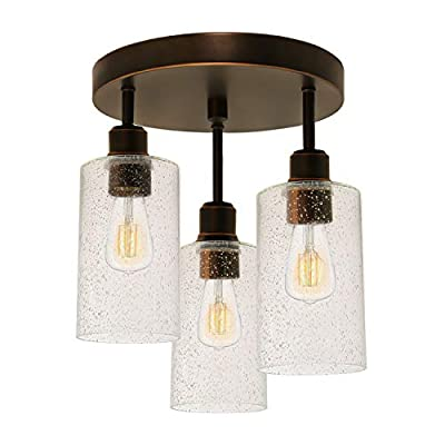 Hykolity 3-Light Semi Flush Mount Ceiling Light, (LED Edison Bulbs as Bonus), Vintage Oil-Rubbed Bronze Finish with Seeded Glass Shades for Kitchen, Entrance Way and Hallway, ETL Listed