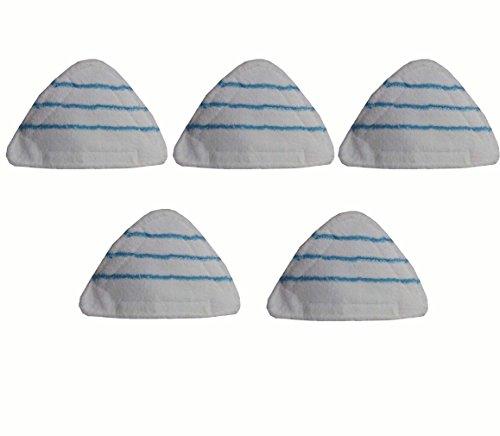 Set 5 Panni Triangolari In Microfibra Per Scopa A Vapore H2O X5 Misure 28 * 22 * 22 cm Con Velcro Colore Bianco