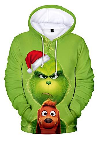 HUASON Kreativer Weihnachts Pullover Weihnachtsmann 3D Hoodie Lustiger Bequemes Langarm Sweatshirt für Herren und Damen(S)