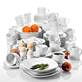 MALACASA, Elisa Series, 100 Pieces Pieces Porcelain Tableware Set, with 12 Cups of Coffee,...