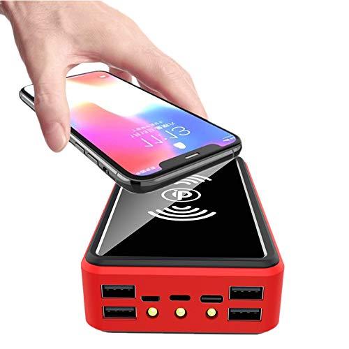 AZD 10W Wireless Cargador Portátil 100000Mah Solar Energia Movil, Power Bank Solar Portátil Batería Externa, Paquete De Pilas Externo, Cargador Solar con 4 Entradas Y 5 Salidas Viajar,Rojo