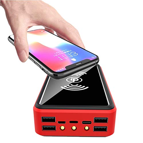 AEU Cargador Solar 100000Mah, Power Bank Solar Portátil Inalámbrico, Cargador Portatil con 4 Salidas USB Y 3 Leds Brillantes, Batería Externa para Smartphones Tabletas Camping Y Exteriores,Rojo