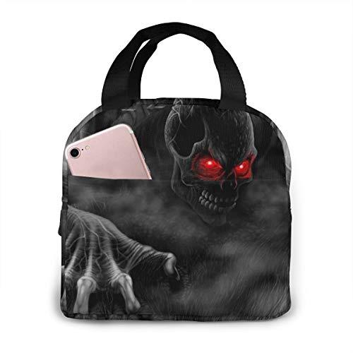 OIVLA Grijze schedel geest zombies rode ogen geïsoleerde lunch tote tas handtas lunchbox Gourmet Tote voedsel container aluminiumfolie voor outdoor picknick