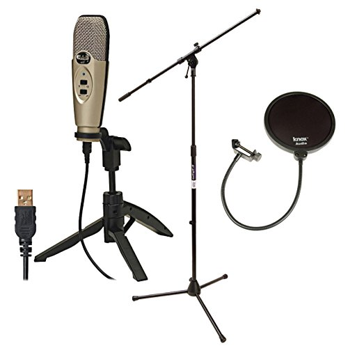 CAD Audio U37 USB Studio Recording Microphone with CAD Audio Microphone Pop Filter and On Stage...