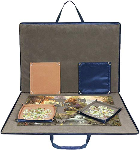 Lavievert Jigsaw Puzzle Case Portable Puzzle Storage Puzzle Board with Six Sorting Trays for Up to 1,500 Pieces - Blue