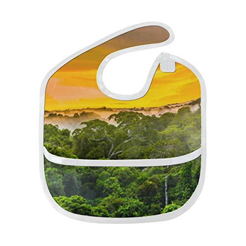Zemivs Babero de baba Amazon Primeval Jungle Mancha blanda personalizada Bebé alimentación Dribble Babero de baba Eructo para bebés 6-24 meses Amazon Primeval Jungle