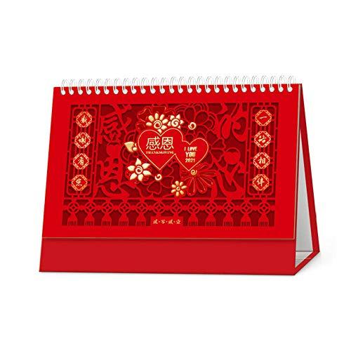 N \ A Chinesische Postkarten Skalender 2021 Kalender Tischkalender 2021 für das Mondjahr des Ochsen,25.5x8x15.5cm,Chinesisches Papierschnitt-Erntedankbild Kalender Tischkalender 2021 für 2021 Neujahr