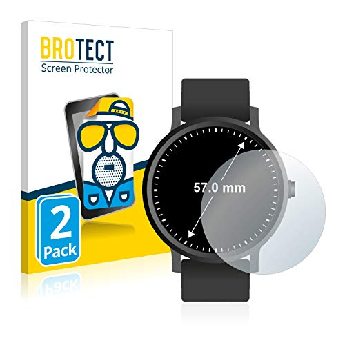 BROTECT 2X Entspiegelungs-Schutzfolie kompatibel mit Armbanduhren (Kreisrund, Durchmesser: 57 mm) Matt, Anti-Reflex, Anti-Fingerprint