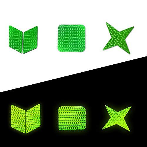Muchekey Reflektierende Aufkleber Wasserdichte High Visibility Sicherheitswarnband Aufkleber Selbstklebende für Rollschuhe Fahrrad Motorrad Kinderwagen DIY Dekoration 21 stücke Grün