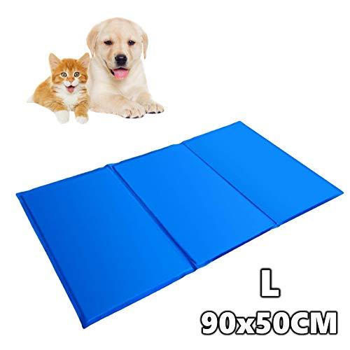PAATO™ Premium Kühlmatte für Hunde, Katzen, Haustiere, Kühldecke, Kühlkissen/Kühlpad, selbstkühlend I 90x50 CM I Farbe: blau