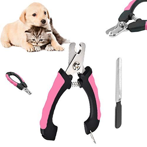 Cortauñas Perro y Gato, Tijeras Uñas Profesional de Acero Inoxidable con Protector y traba de Seguridad, Lima de uñas,para Mascotas