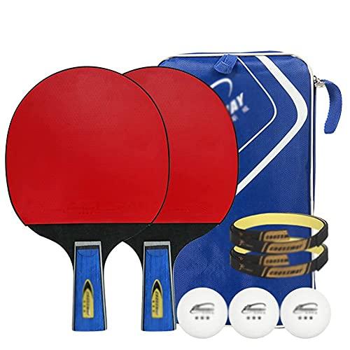 JIANGCJ bajo Precio. Ping Pong Paddle - 2 Pack Pro Premium Table Tennis Set, 3 Bolas, Profesional Recreativo Corta Corta Raqueta, Práctica Entrenamiento Bat, Accesorios Paquete Portátil Kit Fu