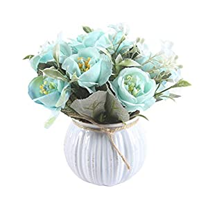 CactusAngui 1Pc Artificial Hibiscus Rose Bonsai Round Pot, Fake Flower Crafts Table Centerpieces for Garden Living Room Wedding Party Decor