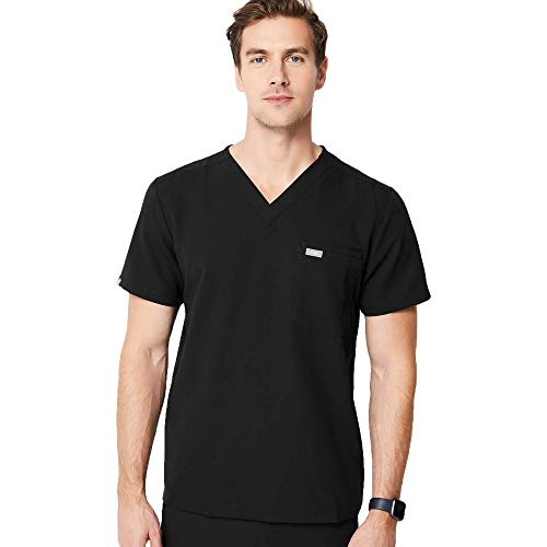 FIGS Leon Two-Pocket Scrub Top for Men - Black, M