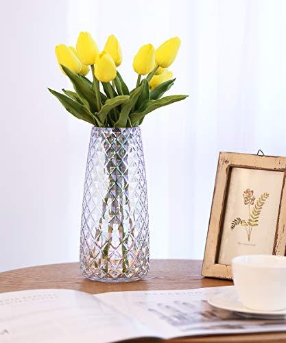 Lewondr Vaso da Fiori, Altezza di 22cm, Vaso in Vetro Vaso di Fiori Vasi Decorativi Design Moderno Motivo Geometrico Contenitore Fiori Decorazione per Casa Ufficio Tavola - Iridescente