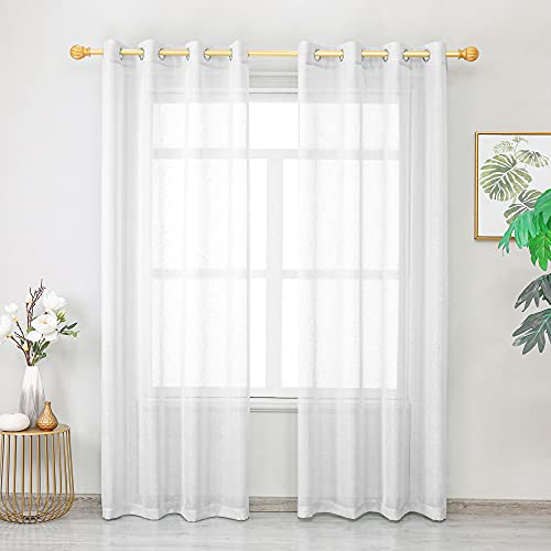 """Roy Lei White Sheer Curtains Voile Light Filtering Grommet Voile Drapes Curtains for Bedroom & Living Room,Set of 2 Panels Shimmer and Light (White-Silver, 52""""x63"""")"""