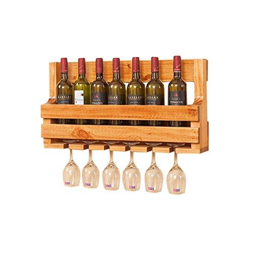 Wine Shelf Wall Mount Pine Wood Unit Floating Shelf 8 Wine Bottle Rack Holder Wine Stand Goblet Holder Hanging 6 Wine Glass Shelf Organiser Countertop for Restaurants, Bars, Daily Home 70x36cm
