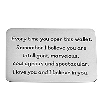 Inspirational Gift Metal Wallet Card Insert Remember I Love You and Believe in You Encouragement Gift for Son Daughter  Silver