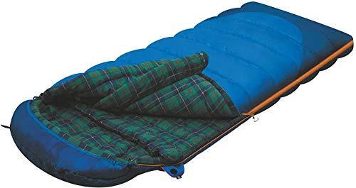ALEXIKA Tundra Plus fermeture éclaire à droite Sac de couchage 90 x 190+35 cm Bleu / kariertes Vert