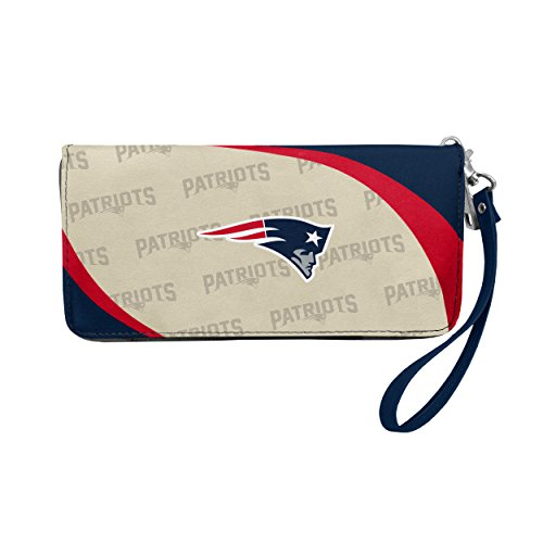 "Littlearth NFL New England Patriots Curve Zip Organizer Wallet, Team Color, 4"" H x 8"