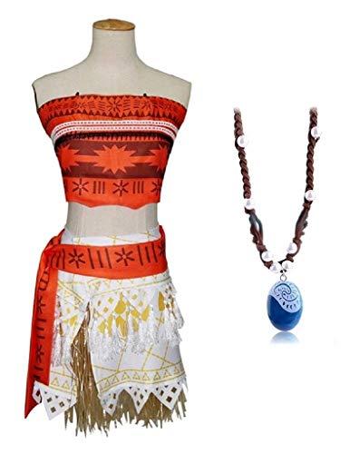 El disfraz completo de carnaval vaiana moana para niña incluye collar talla 110 cosplay