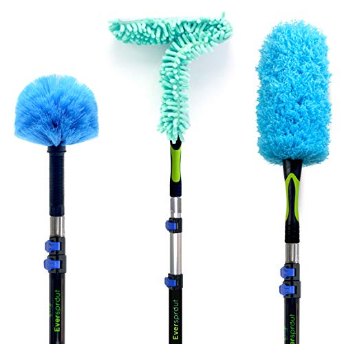 EVERSPROUT 5-to-14 Foot Duster 3-Pack with Extension-Pole (20+ Foot Reach)   Hand-packaged Cobweb Duster, Microfiber Feather Duster, Flexible Microfiber Ceiling & Fan Duster   Aluminum Telescopic Pole