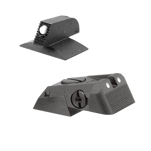 """Kensight DAS 1911 Defense Adjustable Rear Sight Set White Dot with Serrated Blade - White Dot 0.200"""" Front Sights"""