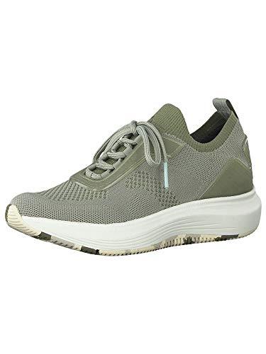 Tamaris Mujer Zapatos con Cordones, señora Zapatos Deportivos con Cordones,Calzado de Exterior,Deportivo,de Moda,Ocio,Light Olive,40 EU / 6.5 UK