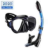 Dorlle Snorkel Set,Anti-Fog Snorkel Mask with Upgraded Free Breathing Tubes,Anti-Leak Dry Top Snorkeling Package for Adult and Youth(Blue/Black)
