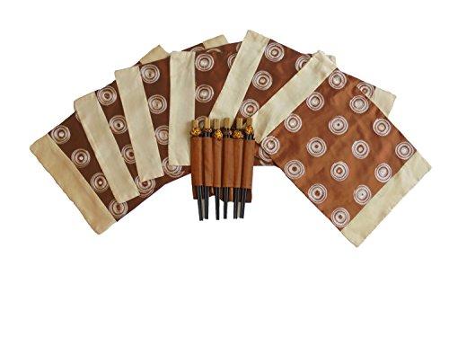 Ensemble unique de 6 sets de table - brun - avec six baguettes cercles brillent comme du satin Taille 39 x 26 cm