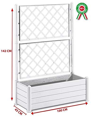FIORIERA ITALIA RETTANGOLARE BIANCA CM.100X43X142H