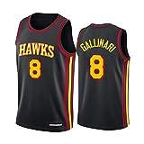 Camiseta de Baloncesto para Hombres NBA Atlanta Hawks 8# Danilo Gallinari Cómodo/Ligero/Transpirable Malla Bordada Swing Swing Sworing Sweatshirt,M