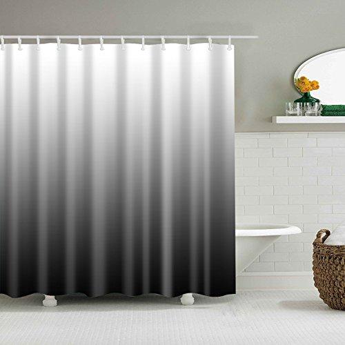 YISHU Farbverlauf Wasserdichter Duschvorhang Anti-Schimmel inkl. 12 Duschvorhangringe für Badezimmer 180x180/180x200 cm schwarz 180x200cm