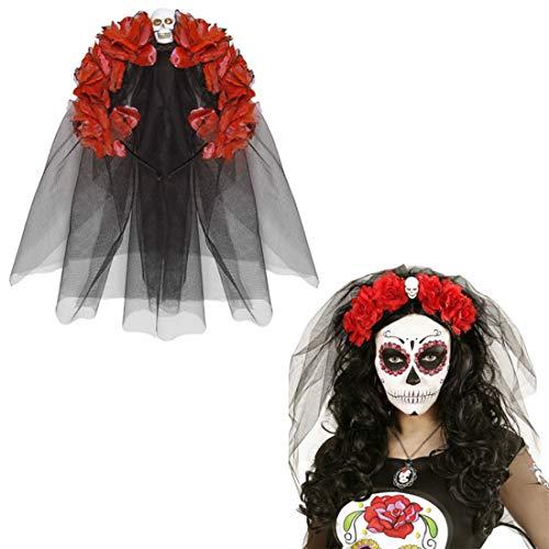 NET TOYS Banda Pelo Día de los Muertos Bisutería La Catrina Rojo...