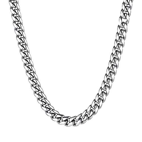 Bishilin Cuban Necklace Stainless Steel Silver Necklace for Mens Boys