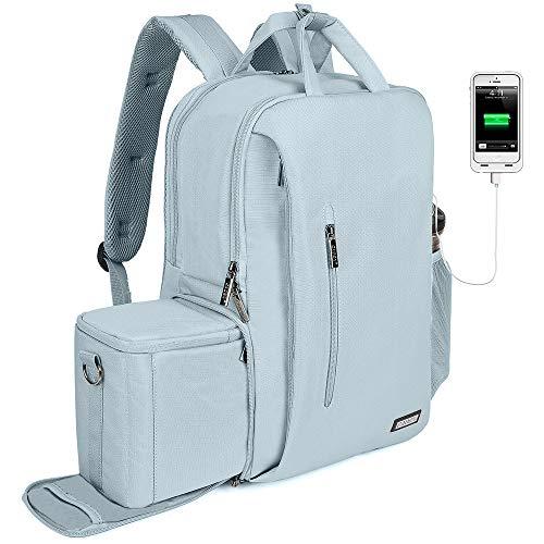 CADeN Kamerarucksack Wasserabweisend Diebstahlsicher 15.6 \'\' Laptopfach Fotorucksack & Reise Kameratasche mit USB für DSLR Canon Nikon Sony Spiegelreflex (Hellgrau)