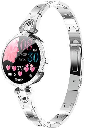 Rosegold Damen Smartwatch Herzfrequenz Blutdruck Schrittzähler Kalorienverbrauch Diamant Schmuck Stylische Armbanduhr Design Elegant