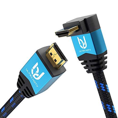 Ultra HDTV Cavo HDMI 4K - 5m 90 Gradi Premio HDMI 2.0b con un Angolo di 90°, risoluzione 4K a 60Hz, HDR, 3D, ARC, HDR, 2160P, High Speed con Ethernet, PS4, Xbox, TV, Monitor