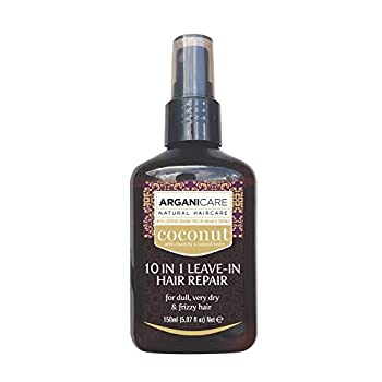 Arganicare 10 in 1 Leave In Hair Repair Conditioner with Organic Coconut and Argan Oils for Very Dry Damaged and Frizzy Hair