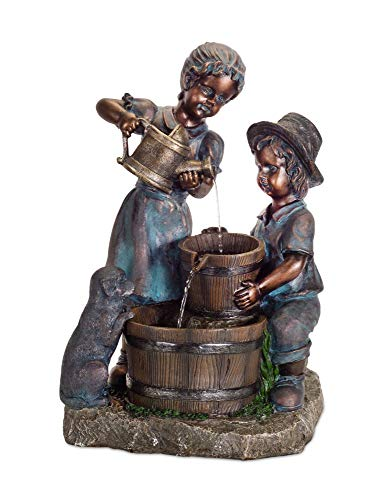 Diva At Home Water Pouring Boy and Girl Fountain 25.5""