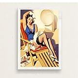 MONBAI Quadro su Tela Pop Art Pin-Up Girl Hot Beauty Ragazze Pinup Classico Stile retrò Art Poster da Parete Decorazioni per La Casa 50x70Cm Senza Cornice