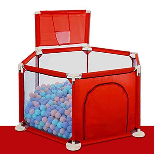Détachable Playpen Clôture de Sécurité Parc Bébé Pliable Barrière de Sécurité Enfant pour Enfants pour Les Bébés/Tout-Petits/Nouveau-Nés/Nourrissons(N'inclut Pas Le Ballon) (Color : Red)